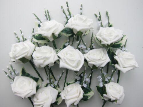 5 Foam Rose /& Heather Artifical Buttonholes Weddding Flowers All Colours