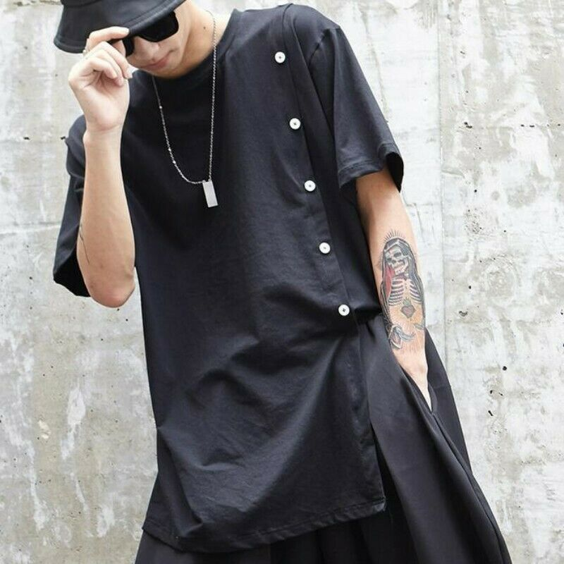Men Blouses Cotton Blend Oversize Short Sleeve Hip-hop Summer Casual T-shirts Sz