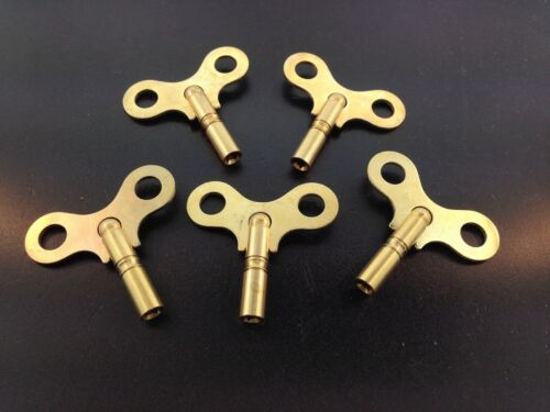 Set of 5 Solid Brass Clock Keys #4 or 3.2 mm.