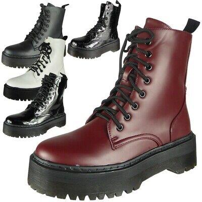 Women/'s Round Toe Chukka High Chunky Heel Platform Zip Punk Combat Ankle Boots