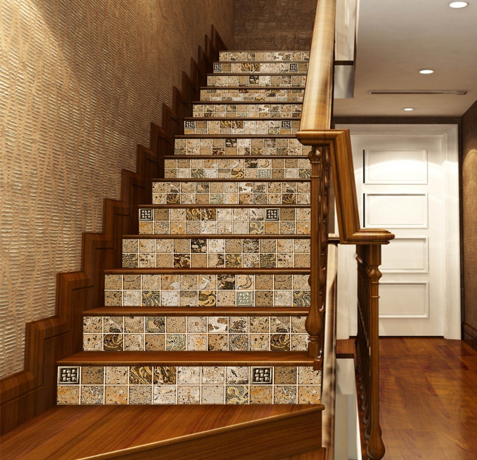 3D Metope Tile 7 Tile Marble Stair Risers Photo Mural Vinyl Decal Wallpaper AU