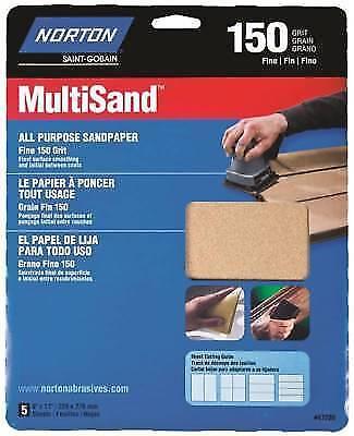 Norton 47720 Multi-Sand Sandpaper 150 Grit 5-Pack 9-Inch x 11-Inch