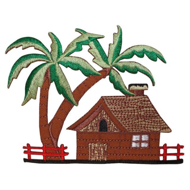 6ad6758d3ab ID 1758 Tropical Beach House Scene Patch Vacation Embroidered Iron On  Applique