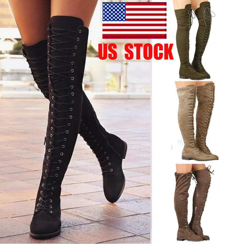 Ladies Mujer Thigh Over The Knee bota Thigh Mujer High Lace Up Tie Low Block Heel Zapatos Talla ea184d