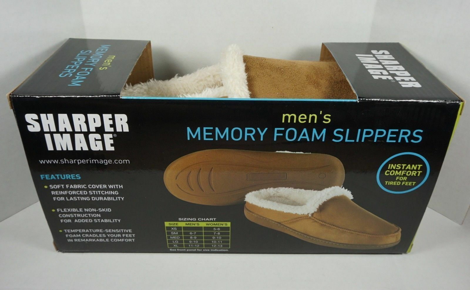 Sharper Image Memory Foam Slippers Color Tan Size Large New
