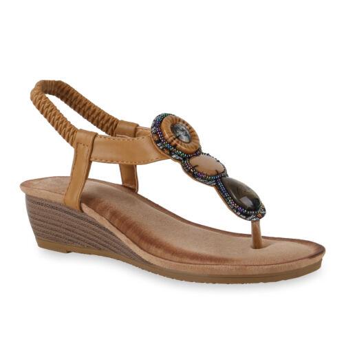 Damen Zehentrenner Sandaletten Keilabsatz Sandalen Ethno Wedges 830794 Schuhe