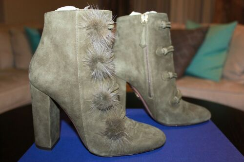 AQUAZZURA FIRENZE Ulyana Suede Mink Boots 105 Mili