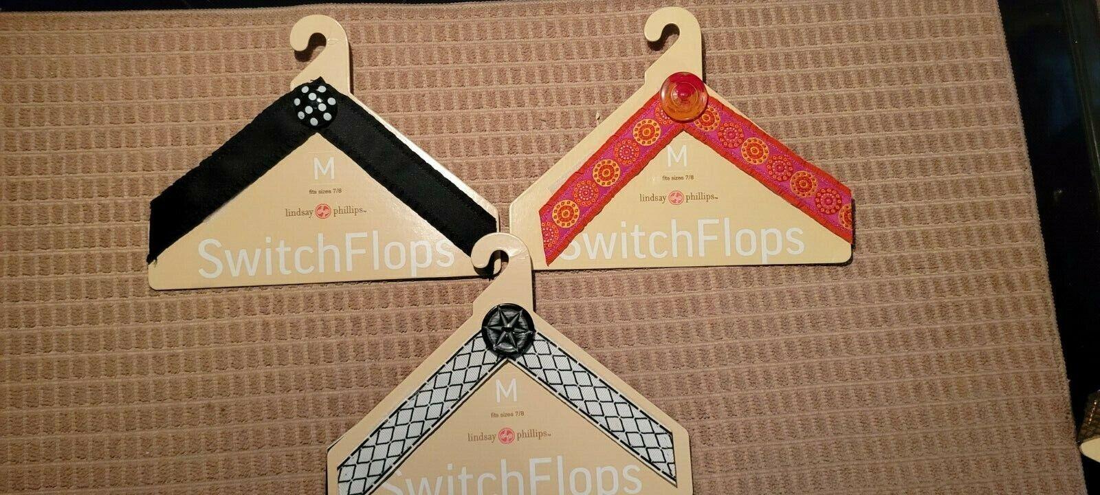 Switchflops LINDSAY PHILLIPS 3 Interchange Straps Med 7/8 NWT Evan Roz Chelsey