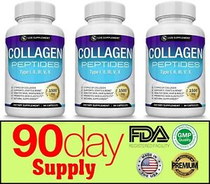 Premium-Collagen-Peptides-1500-MG-Hydrolyzed-Anti-Aging-I-II-III-V-X-3-Months