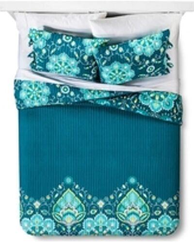 Mudhut TAMERIN  Quilt 3pc Set  FULL QUEEN Reversible TEAL blueeeE BRAND NEW BOHO