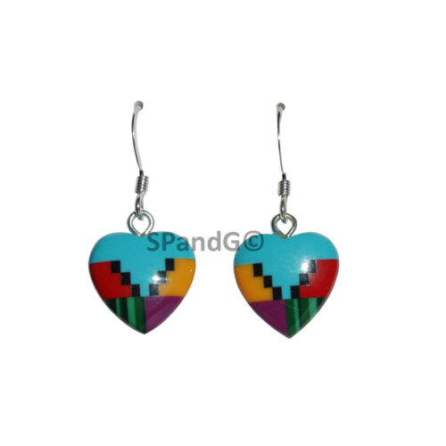 Handcrafted Sterling Silver Heart Shaped Multicolor Block Stones Earrings