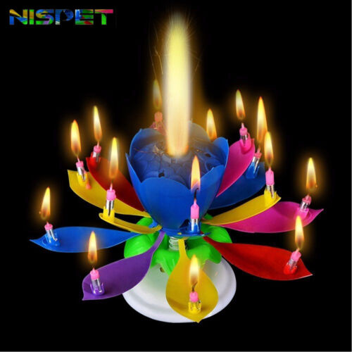 3 pack Birthday Candles Multi Color Musical Candle Lotus Rotating Play Music