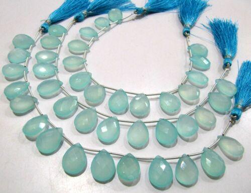 Natural Aqua Calcédoine 12x16mm Poire Facette Gemme brignolette Perles