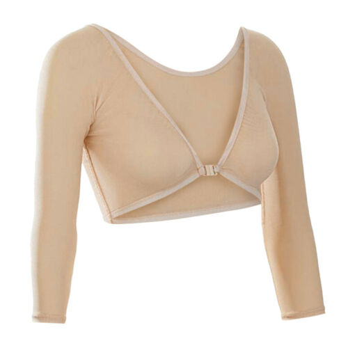 Women Both Side Wear Sheer Seamless Arm Shaper Crop Tops Mesh Dress Shirt XI