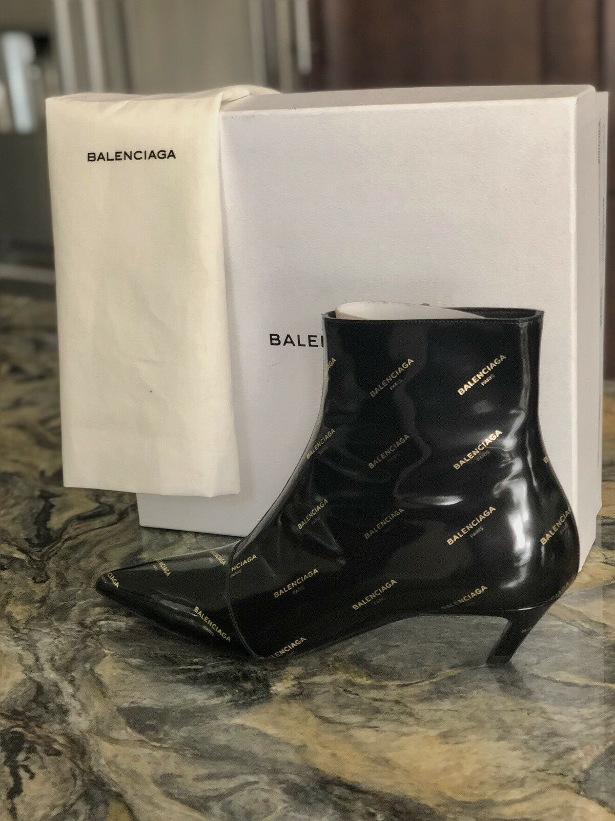 NIB BALENCIAGA BLACK LEATHER ALL OVER LOGO KNIFE KNIFE KNIFE ANKLE BOOTS 40.5 EU - 10 US fc1f93