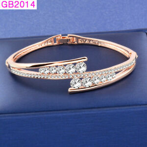 Details About 2019 Fashion Crystal Bangle Bracelets For Women Rose White Gold Plated