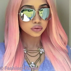 aviator mirror sunglasses  Large \u0026#034;VivieNNe \u0026#034;White CHROME Big Silver Mirror Aviator ...