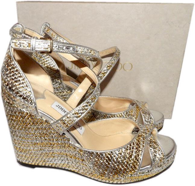 Jimmy Choo Alanah 80 Woven Metallic  Leather Platform Wedge Sandals scarpe 35.5  con il 100% di qualità e il 100% di servizio