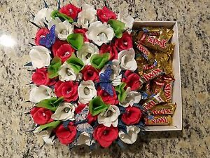 Handmade crepe paper flowers roses in a box filled with candies ebay image is loading handmade crepe paper flowers roses in a box mightylinksfo