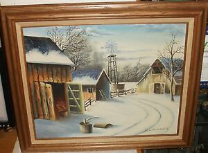 D-GARDNER-SNOW-FARM-BARNS-ORIGINAL-OIL-ON-CANVAS-LANDSCAPE-PAINTING
