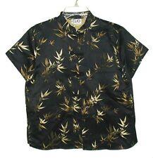 Sz M Womens CLIO Asian Hawaiian Shirt Frog Fasteners TROPICAL BAMBOO Shiny Black