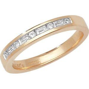 9ct-Oro-Amarillo-26pt-Diamante-Eternity-Anillo-con-Baguette-amp-Redondo-Piedras