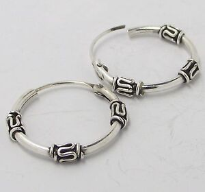 Image Is Loading Pair Bali Hoop Earrings 925 Sterling Silver 16mm