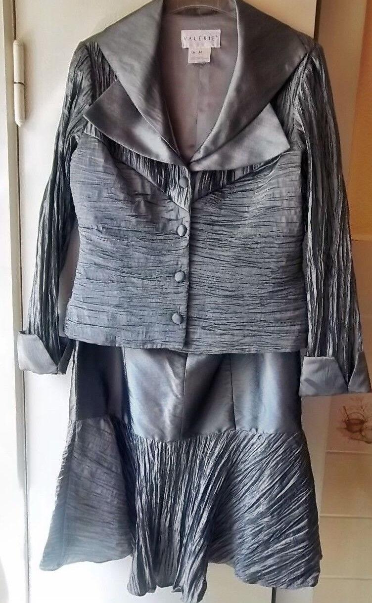 Damen Kleid zweiteilig NEU Rock und Blazer silberfarben von  Valerie  Gr. 42