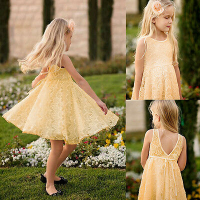 New Kids Baby Girls Princess Party Dress Lace Sleeveless Gown Summer Dress 2-11Y