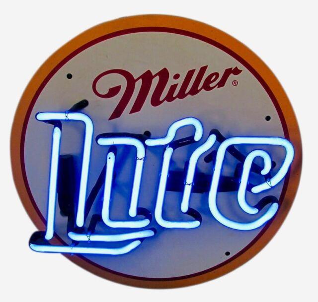 VINTAGE NEON LIGHT SIGN MILLER LITE BEER BAR NASCAR METAL