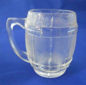 Vintage-Hazel-Atlas-Barrel-Keg-Mug-Shot-Glass-Clear-Barware