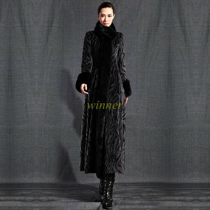 Womens Super Long Faux Mink Fur Cashmere Blend Stand Collar Coat Parkas Outwear