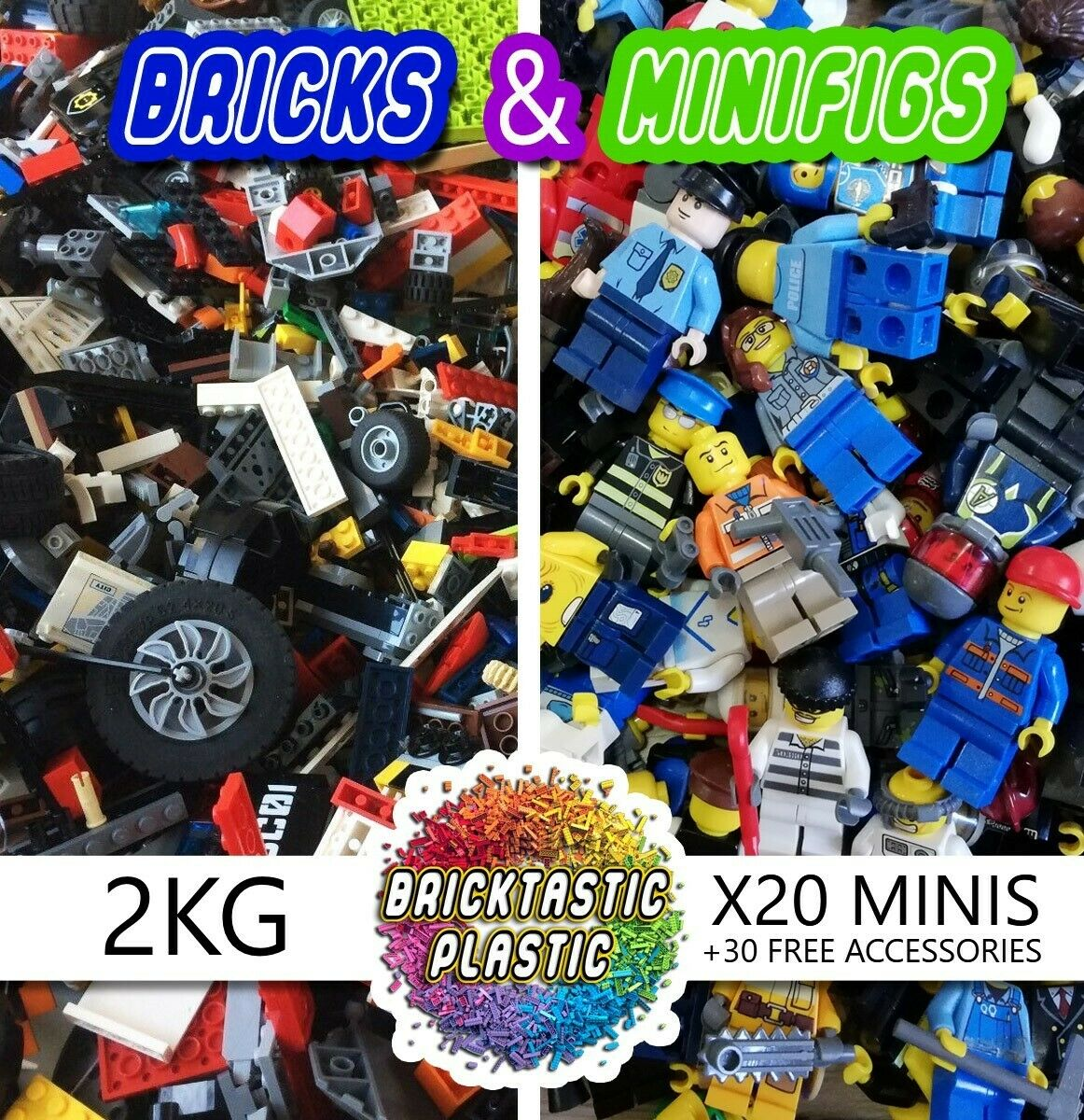 2 KG x1750pc's LEGO CREATIVITY PACK +20 MINIFIGURES + x30 FREE ACCESSORIES