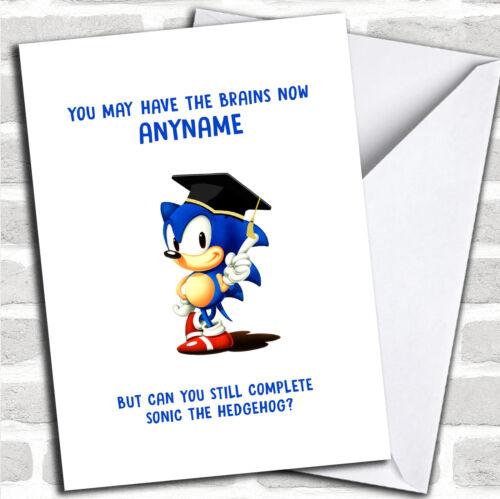Classic Sonic Sega Rings Funny Personalized Graduation Card