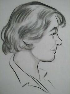 Beau-dessin-fusain-1950-Saint-Malo-grand-portrait-de-femme-signe-parfait-etat