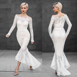 Spitze-Langarm-Brautkleid-Hochzeitskleid-Kleid-Abendkleid-Ballkleid-Mermaid-B717