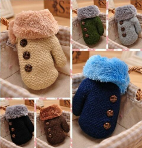 Cartoon Robot Winter Warm Toddlers Girls Boys Baby Kids knitting Gloves Mittens