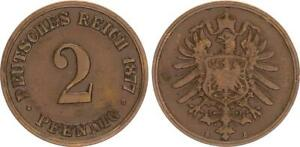 Empire 2 Pfennig J.2 1877 B Very Seltenes Year / Mzz. Almost VF