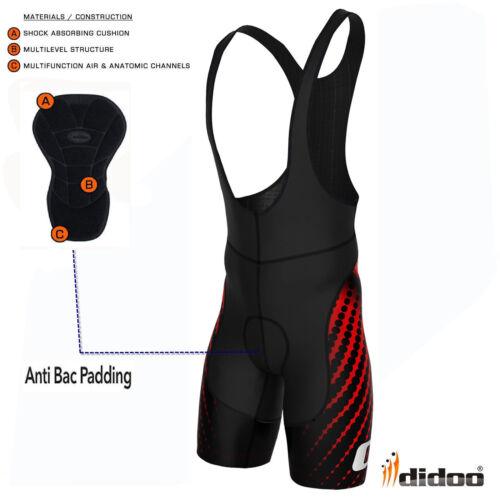 Didoo New Mens Performance Cycling Bib Shorts Coolmax® Padding Cycle Lycra Pants