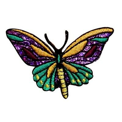 ID 2026 Shiny Butterfly Patch Garden Bug Insect Embroidered Iron On Applique