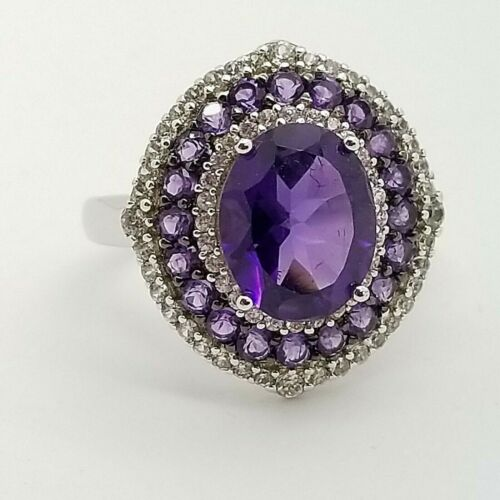 PJC 925 Argent Sterling 10 Mm Violet Amethyst /& White Topaz Ovale Band Ring Taille 7