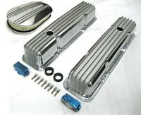 58-86 Chevy Tall Polished Aluminum Finned Valve Covers + 15 Air Cleaner Kit Sbc
