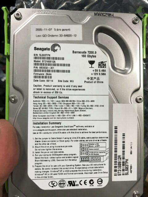 "Seagate Barracuda ST3160812A 160GB SATA 7200 RPM 3.5""  98D032-301 TESTED"