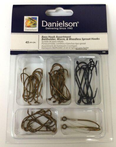 Danielson 45Pc Bass Fishing Assortment Baitholder Worm and Weedless Sproat Hooks