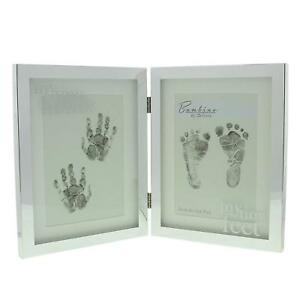 Double-Hand-amp-Foot-Print-Silver-Plated-Baby-Photo-Frame-Keepsake-Gift