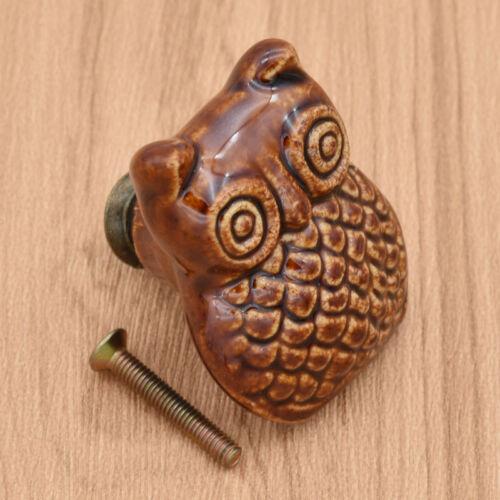 Cute Ceramic Owl Cabinet Knob Kitchen Cupboard Closet Drawer Pull Handle 1pc