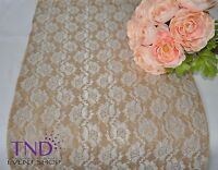 "14""x108"" Lace Burlap Table Runner For Rustic Wedding"