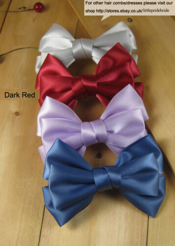 Three tier bowknot royal blue red hot pink purple satin hair beak clip grips