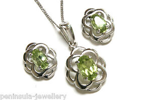Sterling Silver Peridot Celtic Pendant and Earring Set Made in UK Gift Boxed