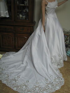 Image Is Loading Wedding Gown Dress Las 12 Train Eyelet Lace